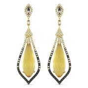 9.70ct Citrine w/ Black, White, & Brown Diamond Dangling Earrings in 14k Yellow & Black Gold