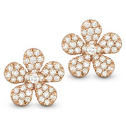 0.55ct Round Cut Diamond Pave Flower Charm Stud Earrings in 14k Rose Gold