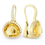 7.97ct Fancy Cut Citrine & Round Cut Diamond Halo Leverback Drop Earrings in 14k Yellow Gold