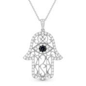 0.76ct Round Cut Sapphire & Diamond Pave Hamsa Hand Evil Eye Charm Pendant & Chain Necklace in 14k White Gold