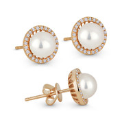 6mm Freshwater Pearl & 0.16ct Round Cut Diamond Halo Stud Earrings in 14k Rose Gold