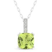 1.55ct Cushion Cut Peridot & Round Diamond Pendant & Chain Necklace in 14k White Gold