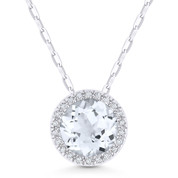 1.50ct Round Cut White Topaz & Diamond Circle Halo Pendant & Chain Necklace in 14k White Gold