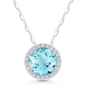 1.55ct Round Cut Blue Topaz & Diamond Circle Halo Pendant & Chain Necklace in 14k White Gold