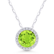 1.49ct Round Cut Peridot & Diamond Circle Halo Pendant & Chain Necklace in 14k White Gold