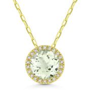 1.35ct Round Cut Green Amethyst & Diamond Circle Halo Pendant & Chain Necklace in 14k Yellow Gold
