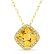 1.47ct Cushion Cut Citrine & Round Diamond Halo Pendant & Chain Necklace in 14k Yellow Gold
