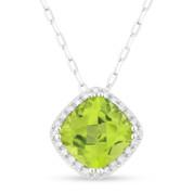 1.66ct Cushion Cut Peridot & Round Diamond Halo Pendant & Chain Necklace in 14k White Gold