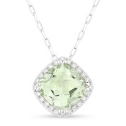 1.51ct Cushion Cut Green Amethyst & Round Diamond Halo Pendant & Chain Necklace in 14k White Gold