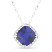 2.16ct Cushion Cut Lab-Created Sapphire & Round Diamond Halo Pendant & Chain Necklace in 14k White Gold