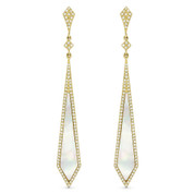 Mother-of-Pearl & 0.45ct Diamond Pave Arrow-Style Dangling Stiletto Earrings in 14k Yellow Gold