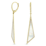 Mother-of-Pearl 0.42ct Diamond Pave Dangling Fancy Triangle Stiletto Earrings in 14k Yellow Gold