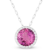 1.71ct Round Cut Lab-Created Pink Sapphire & Diamond Circle Halo Pendant & Chain Necklace in 14k White Gold