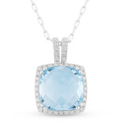 3.66ct Cushion Checkerboard Blue Topaz & Round Cut Diamond Halo Pendant & Chain Necklace in 14k White Gold