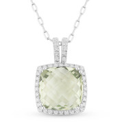 3.12ct Cushion Checkerboard Green Amethyst & Round Cut Diamond Halo Pendant & Chain Necklace in 14k White Gold