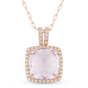 3.19ct Cushion Checkerboard Pink Amethyst & Round Cut Diamond Halo Pendant & Chain Necklace in 14k Rose Gold
