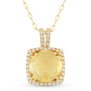 3.66ct Cushion Checkerboard Citrine & Round Cut Diamond Halo Pendant & Chain Necklace in 14k Yellow Gold