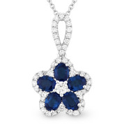1.47ct Oval Cut Sapphire & Round Diamond Pave Flower Pendant in 18k White Gold w/ 14k Chain Necklace