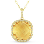 5.43ct Cushion Checkerboard Citrine & Round Cut Diamond Halo Pendant & Chain Necklace in 14k Yellow Gold