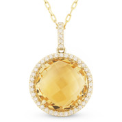 4.71ct Checkerboard Citrine & Round Cut Diamond Halo Pendant & Chain Necklace in 14k Yellow Gold