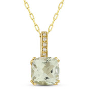 1.46ct Cushion Cut Green Amethyst & Round Diamond Pendant & Chain Necklace in 14k Yellow Gold
