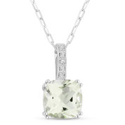 1.45ct Cushion Cut Green Amethyst & Round Diamond Pendant & Chain Necklace in 14k White Gold