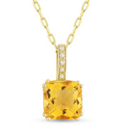 1.63ct Cushion Cut Citrine & Round Diamond Pendant & Chain Necklace in 14k Yellow Gold