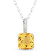 1.46ct Cushion Cut Citrine & Round Diamond Pendant & Chain Necklace in 14k White Gold