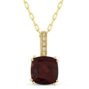 1.82ct Cushion Cut Garnet & Round Diamond Pendant & Chain Necklace in 14k Yellow Gold