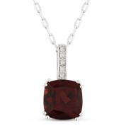 1.86ct Cushion Cut Garnet & Round Diamond Pendant & Chain Necklace in 14k White Gold
