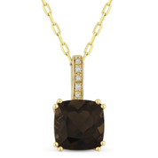 1.63ct Cushion Cut Smoky Topaz & Round Diamond Pendant & Chain Necklace in 14k Yellow Gold