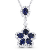 1.78ct Oval Cut Sapphire & Round Diamond Pave Flower Pendant in 18k White Gold w/ 14k Chain Necklace