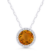 1.36ct Round Cut Citrine & Diamond Circle Halo Pendant & Chain Necklace in 14k White Gold