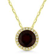 1.72ct Round Cut Garnet & Diamond Circle Halo Pendant & Chain Necklace in 14k Yellow Gold