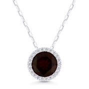 1.79ct Round Cut Garnet & Diamond Circle Halo Pendant & Chain Necklace in 14k White Gold