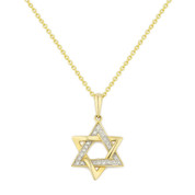 0.06ct Round Cut Diamond Star of David Pendant in 14k Yellow Gold w/ Chain Necklace