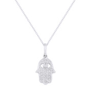 0.10ct Round Cut Diamond Hamsa Hand Evil Eye Charm Pendant in 14k White Gold w/ Chain Necklace