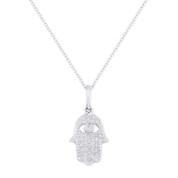 0.10ct Round Cut Diamond Hamsa Hand Evil Eye Charm Pendant in 14k White Gold w/ Chain Necklace