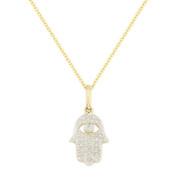 0.10ct Round Cut Diamond Hamsa Hand Evil Eye Charm Pendant in 14k Yellow Gold w/ Chain Necklace