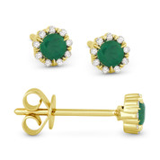 0.29ct Round Cut Emerald & Diamond Pave Baby Stud Earrings in 14k Yellow Gold