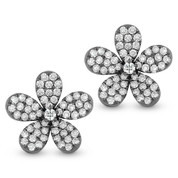 0.76ct Round Cut Diamond Pave Flower Charm Stud Earrings in 14k Black Gold