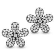 1.33ct Round Cut Diamond Pave Flower Charm Stud Earrings in 14k Black Gold