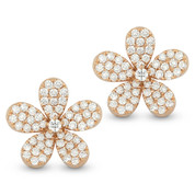 1.33ct Round Cut Diamond Pave Flower Charm Stud Earrings in 14k Rose Gold