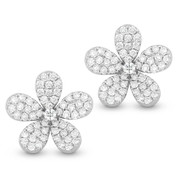 1.33ct Round Cut Diamond Pave Flower Charm Stud Earrings in 14k White Gold