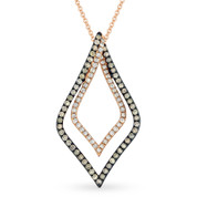 0.55ct White & Brown Diamond Pendant & Chain Necklace in 14k Rose & Black Gold