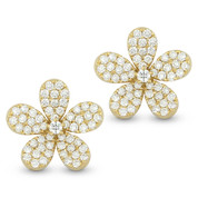 1.33ct Round Cut Diamond Pave Flower Charm Stud Earrings in 14k Yellow Gold