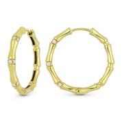 0.14ct Round Cut Diamond Cluster Fashion Hoop Earrings in 18k Yellow Gold