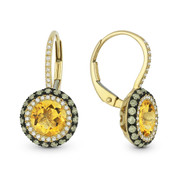 3.24ct Citrine w/ Brown & White Diamond Pave Leverback Drop Earrings in 14k Yellow & Black Gold