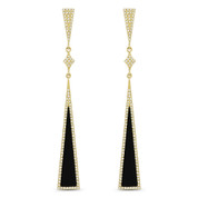1.43ct Black Onyx & Diamond Pave Dangling Long-Triangle Stiletto Earrings in 14k Yellow Gold