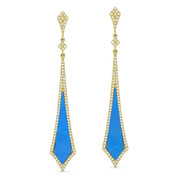 1.43ct Blue Turquoise & Diamond Pave Arrow-Style Dangling Stiletto Earrings in 14k Yellow Gold